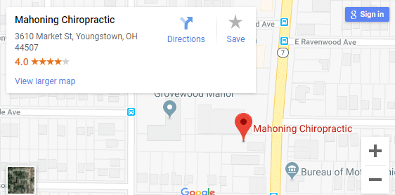 Map of Youngstown OH Chiropractors